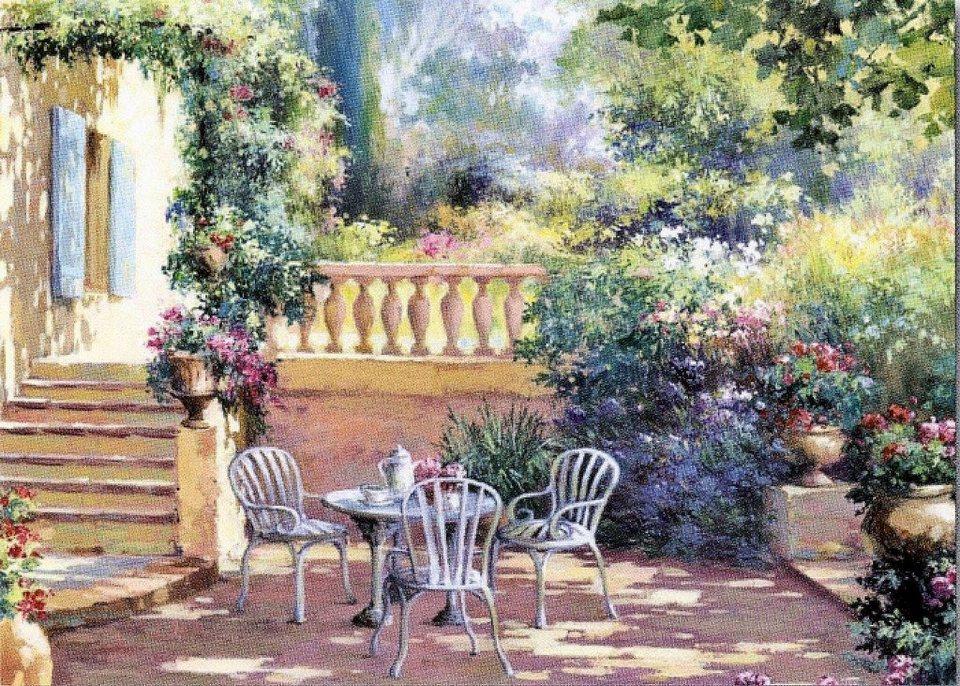 Home affaire Deco-Panel »Romantische Terrasse«, 70/50/2 cm online kaufen    OTTO