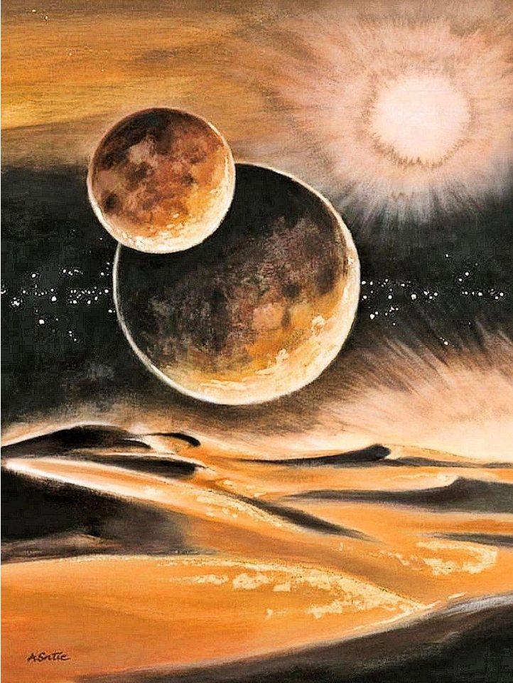 Home Affaire Deco Panel, »Alain Satie / Misson to Mars - Goldfoliendruck«, 60/80/2 cm in gold/anthrazit
