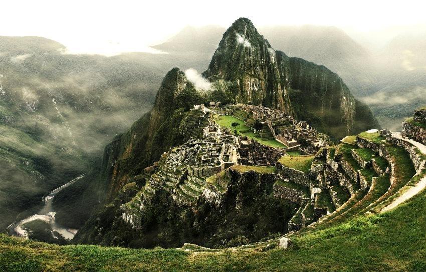 Home affaire Fototapete »Machu Picchu«, 350/260 cm in grün/grau
