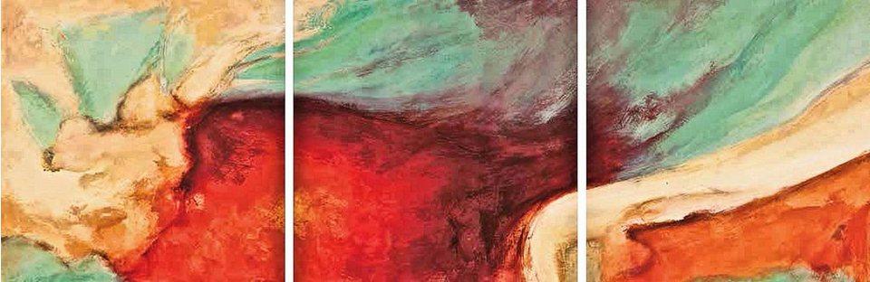 Home Affaire Bild, Kunstdruck, »Jean-Luc Demos / Namaste, Bilderset«, 3x 30/30/1,3 cm in rot/mint