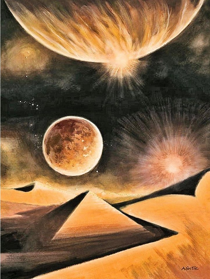 Home Affaire Deco Panel, »Alain Satie / Discover new worlds - Goldfoliendruck«, 60/80/2 cm in gold/anthrazit
