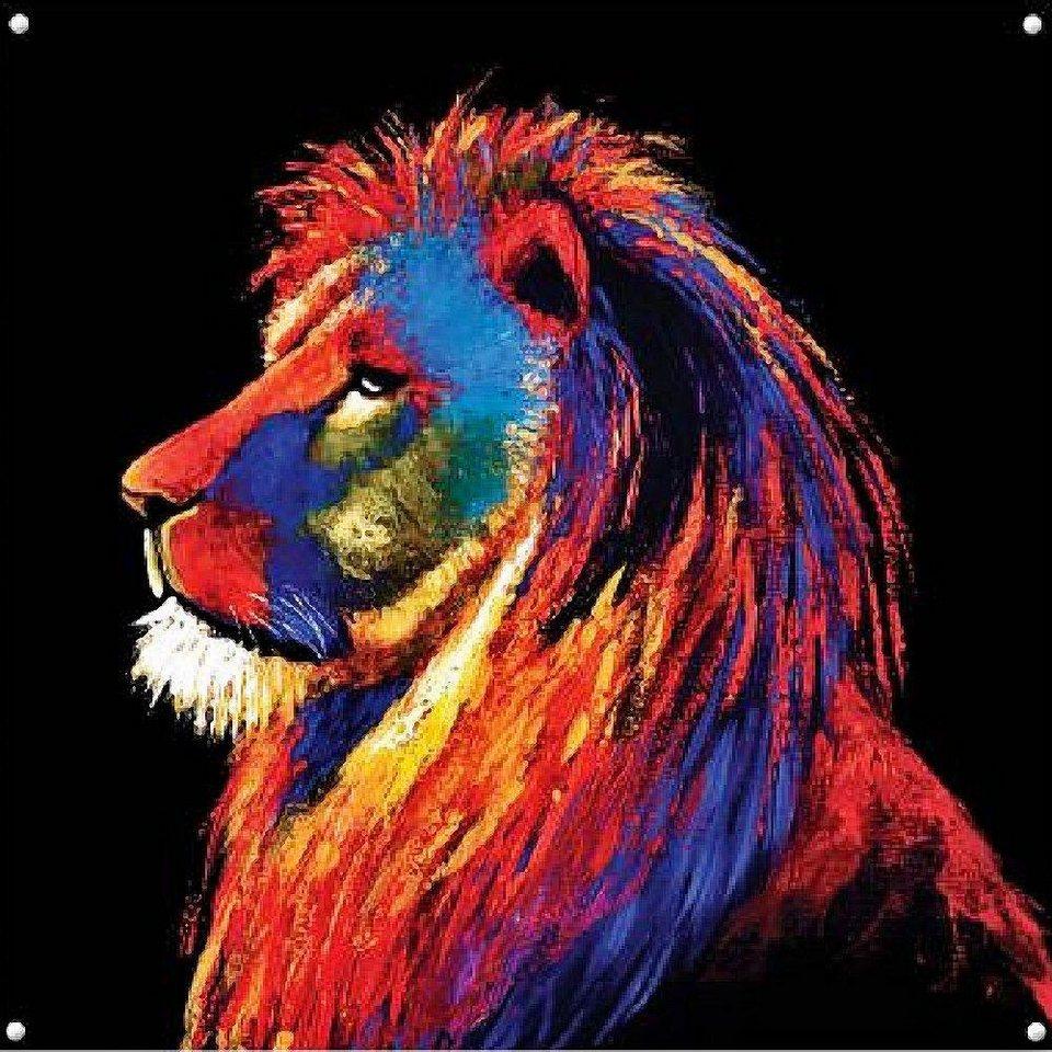 Home Affaire Glasbild, »Majestic Lion«, 100/100/0,5 cm in bunt