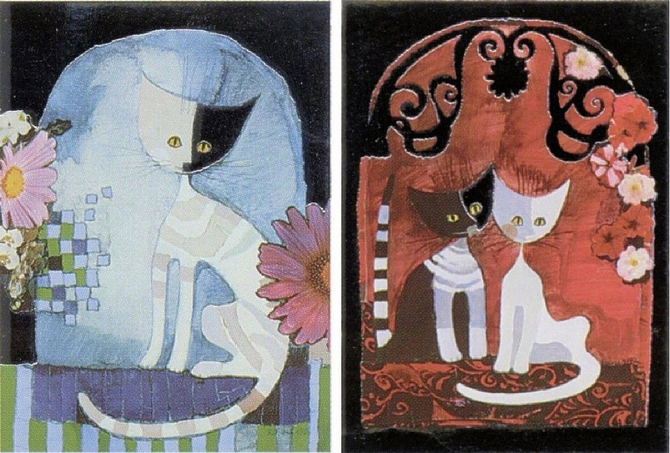 Home Affaire Deco Panel, »Wachtmeister / Cats I/II«, 2x 30/40/2 cm in bunt