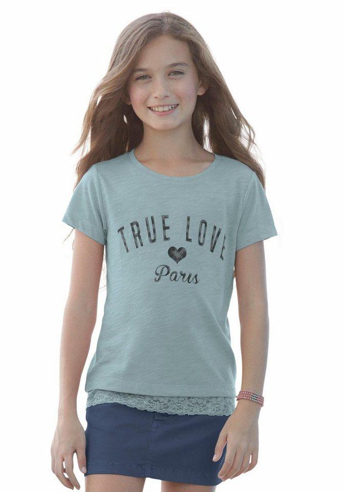 KIDSWORLD Kurzarmshirt mit Spitze am Saum, für Mädchen in Hellpetrol-meliert