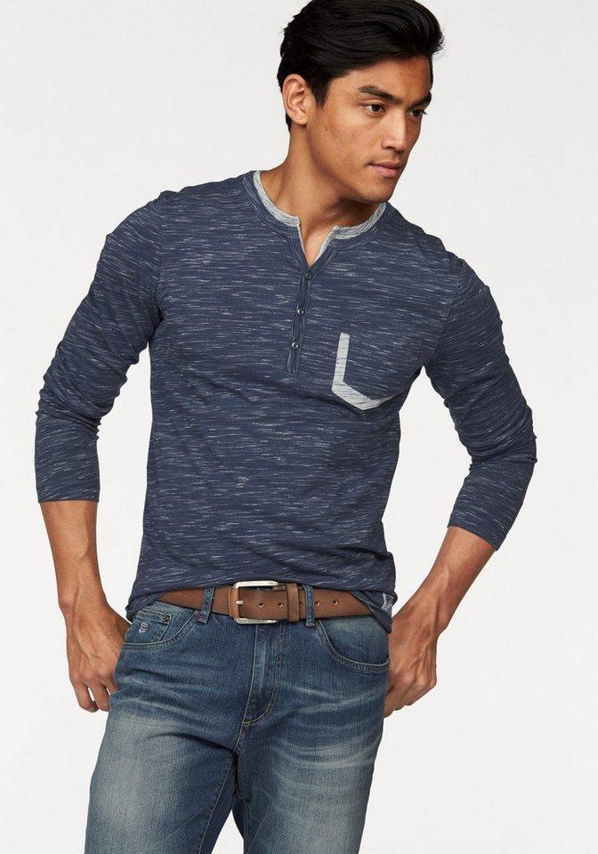 Rhode Island Langarmshirt in blau-meliert