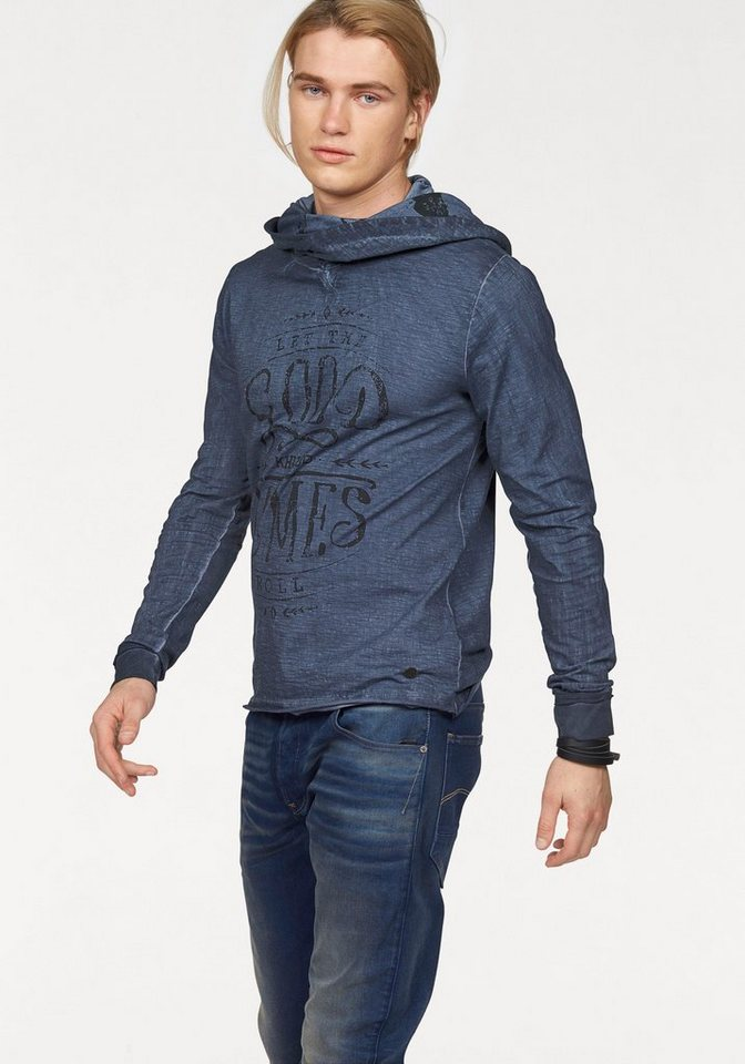 khujo Langarmshirt mit Schalkragen in old-blue