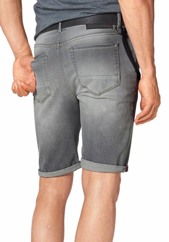 Bruno Banani Jeansbermudas »Hank« mit Hosenkette in grey-used