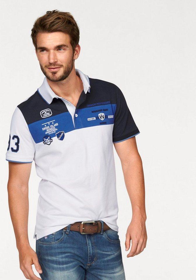 Rhode Island Poloshirt mit Elasthan Anteil in weiß-blau-gestreift