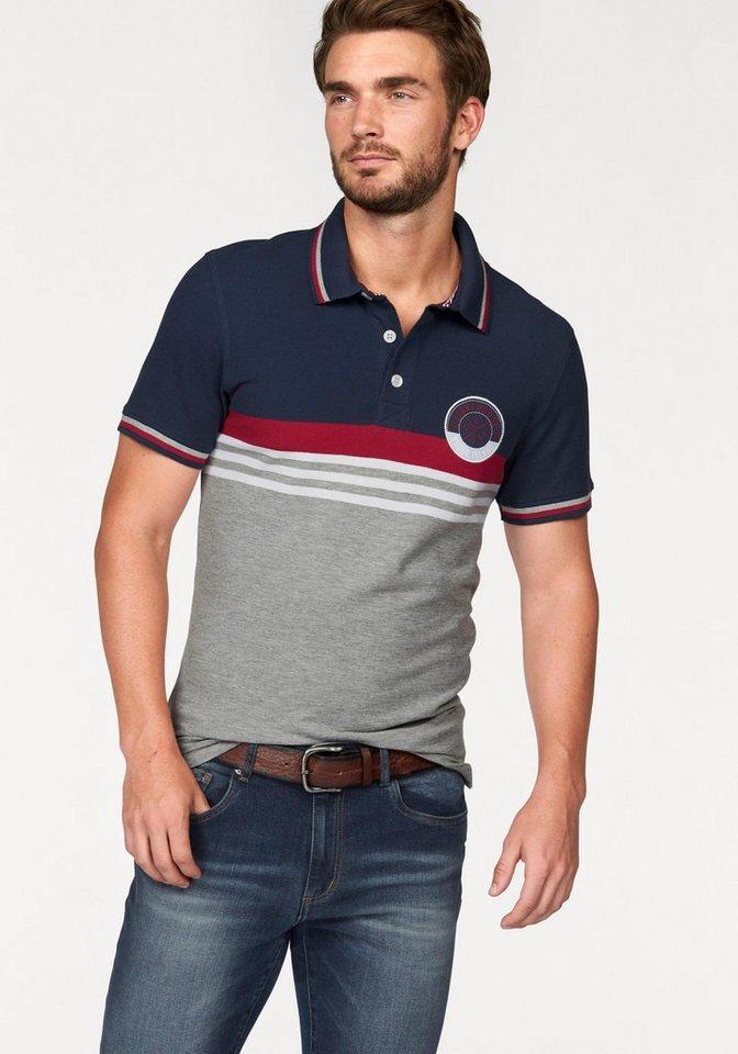 Rhode Island Poloshirt »Piqué Qualität« in blau-grau