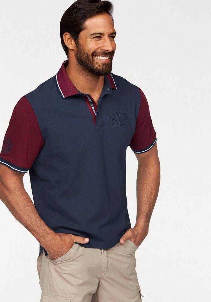 Man's World Poloshirt in Piqué-Qualität in marine-rot-meliert