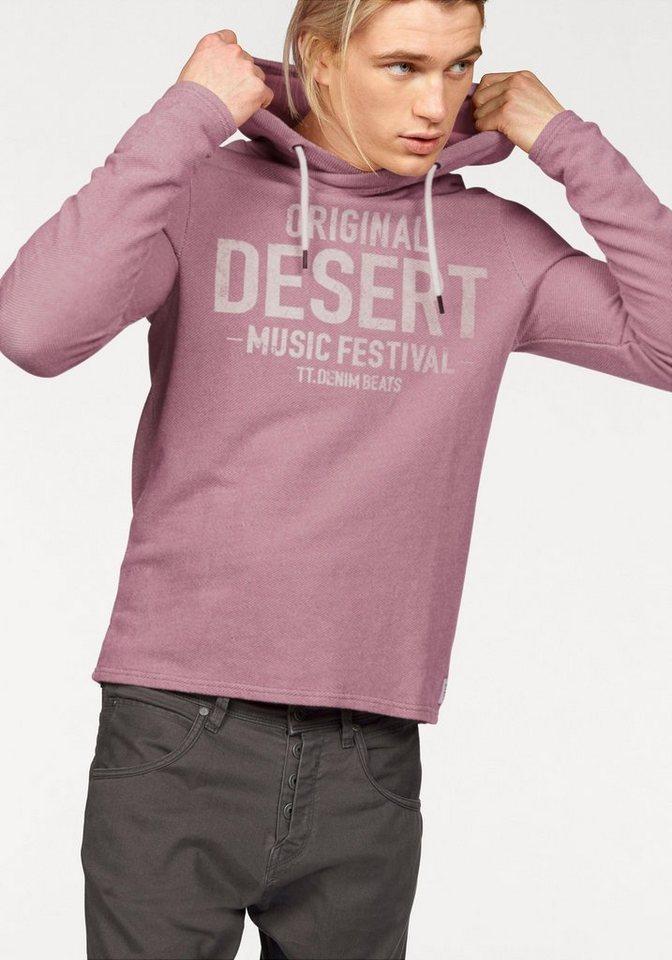 Tom Tailor Denim Kapuzensweatshirt mit Strukturmuster in mauve