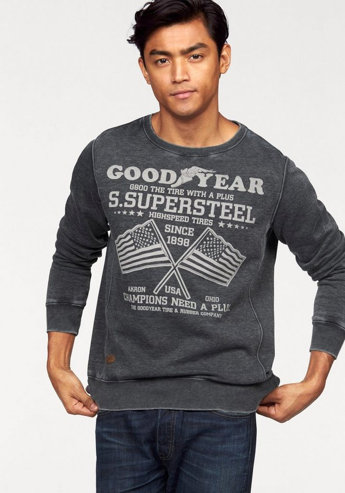 Goodyear Sweatshirt in Oil Washed Optik in anthrazit-washed