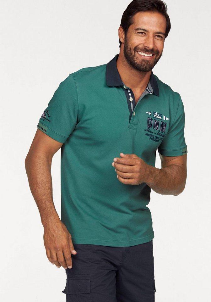 Man's World Poloshirt in Piqué-Qualität mit Kontrastkragen in smaragd-grün