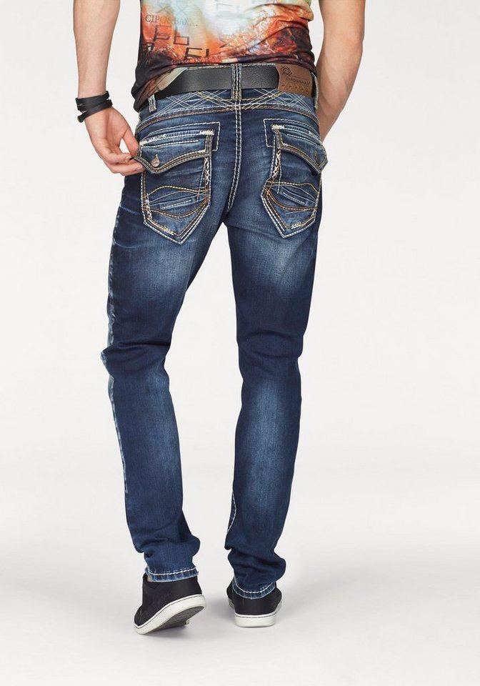 Cipo & Baxx 5-Pocket-Jeans mit Nähten verziert in dark-blue