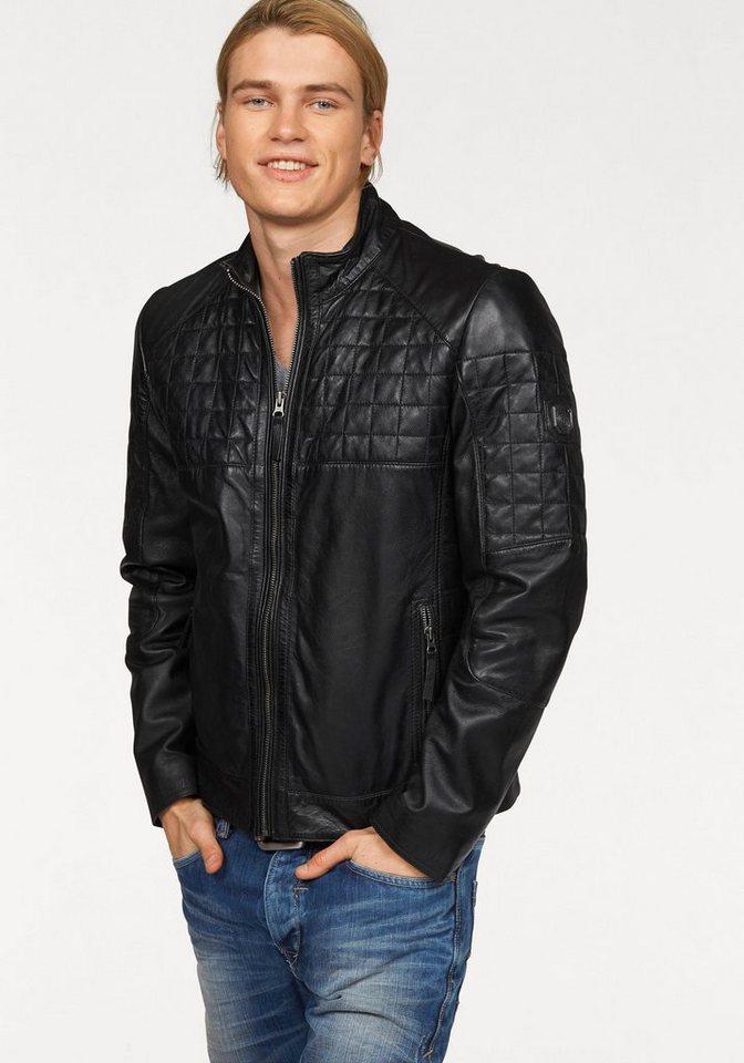 Maze Lederjacke mit schönen Absteppungen in schwarz