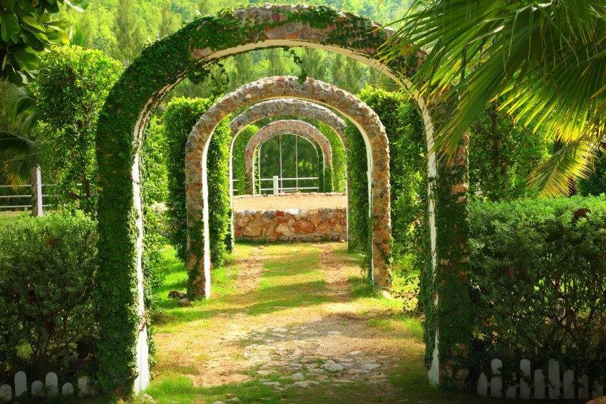 Home affaire Fototapete »Pergola Garden«, 350/260 cm in grün