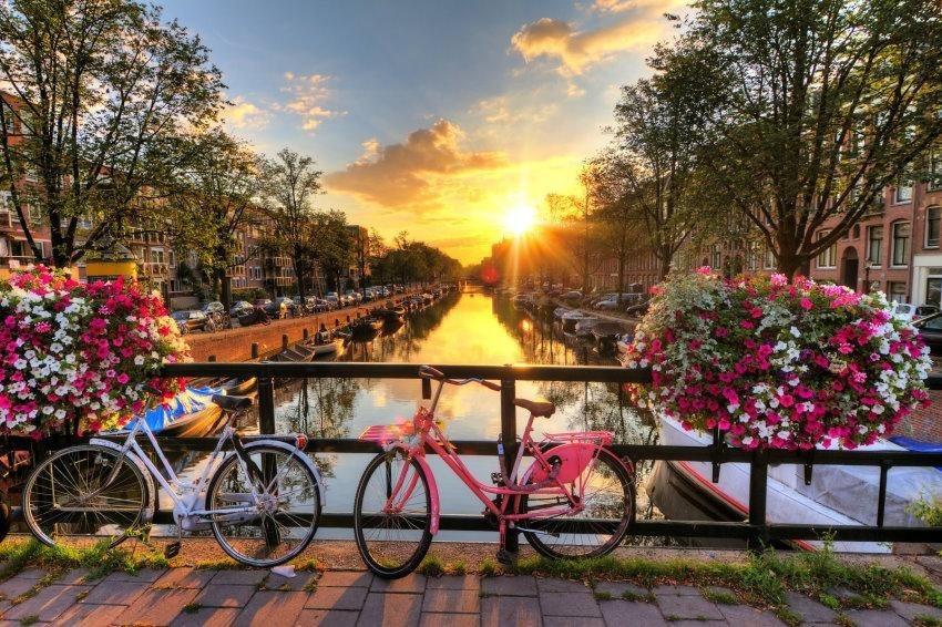 Home affaire Fototapete »Amsterdam Sunrise«, 350/260 cm in bunt