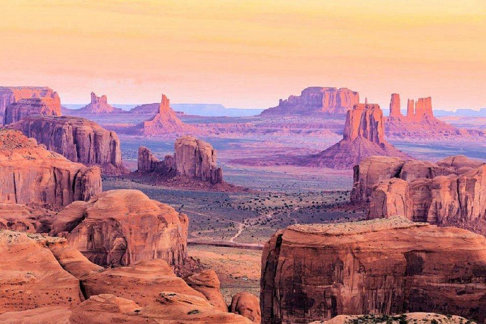 Home affaire Fototapete »Hunts Mesa Sunrise«, 350/260 cm in braun/lila/gelb