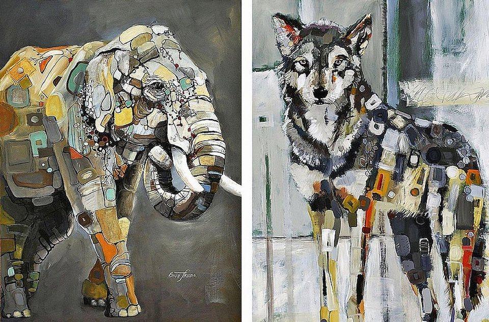 Home Affaire Bild, Kunstdruck, »Britt Freda / Elefant,Grauwolf«, 2x 40/50/1,3 cm in bunt