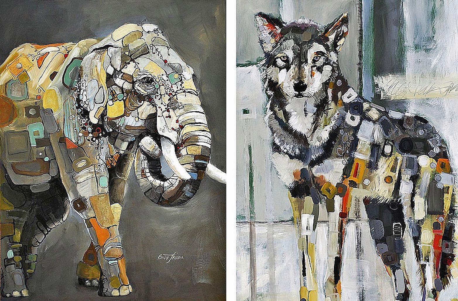 Home Affaire Bild, Kunstdruck, »Britt Freda / Elefant,Grauwolf«, 2x 40/50/1,3 cm