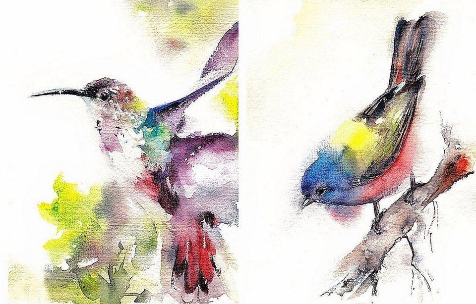 Home Affaire Bild, Kunstdruck, »Cannotstop / Kolibri, Ammer«, 2x 40/50/1,3 cm in bunt