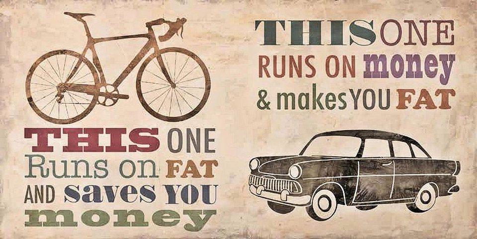Home Affaire Deco Panel, »Skip Teller / Bikes vs. Car«, 100/50/2 cm in beige