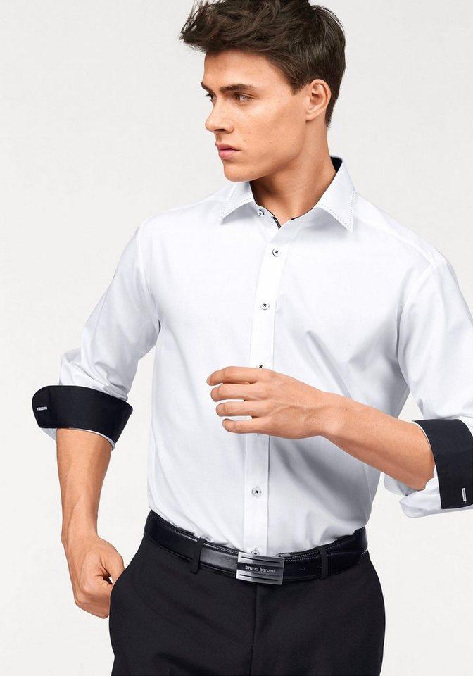 Bruno Banani Businesshemd Modische Absteppung am Kragen in weiß