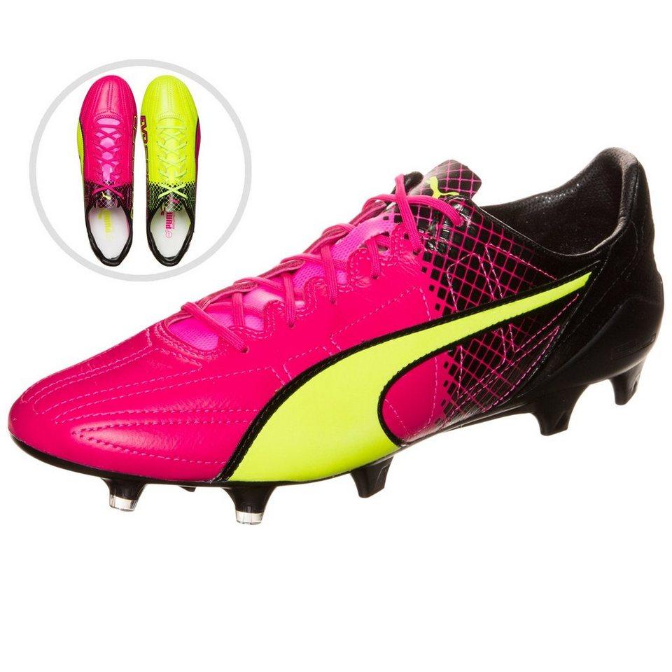PUMA evoSPEED SL Leather II Tricks FG Fußballschuh Herren in pink / neongelb
