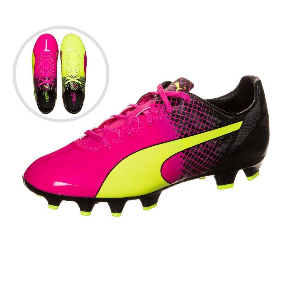 PUMA evoSPEED 1.3 Tricks FG Fußballschuh Kinder in pink / neongelb