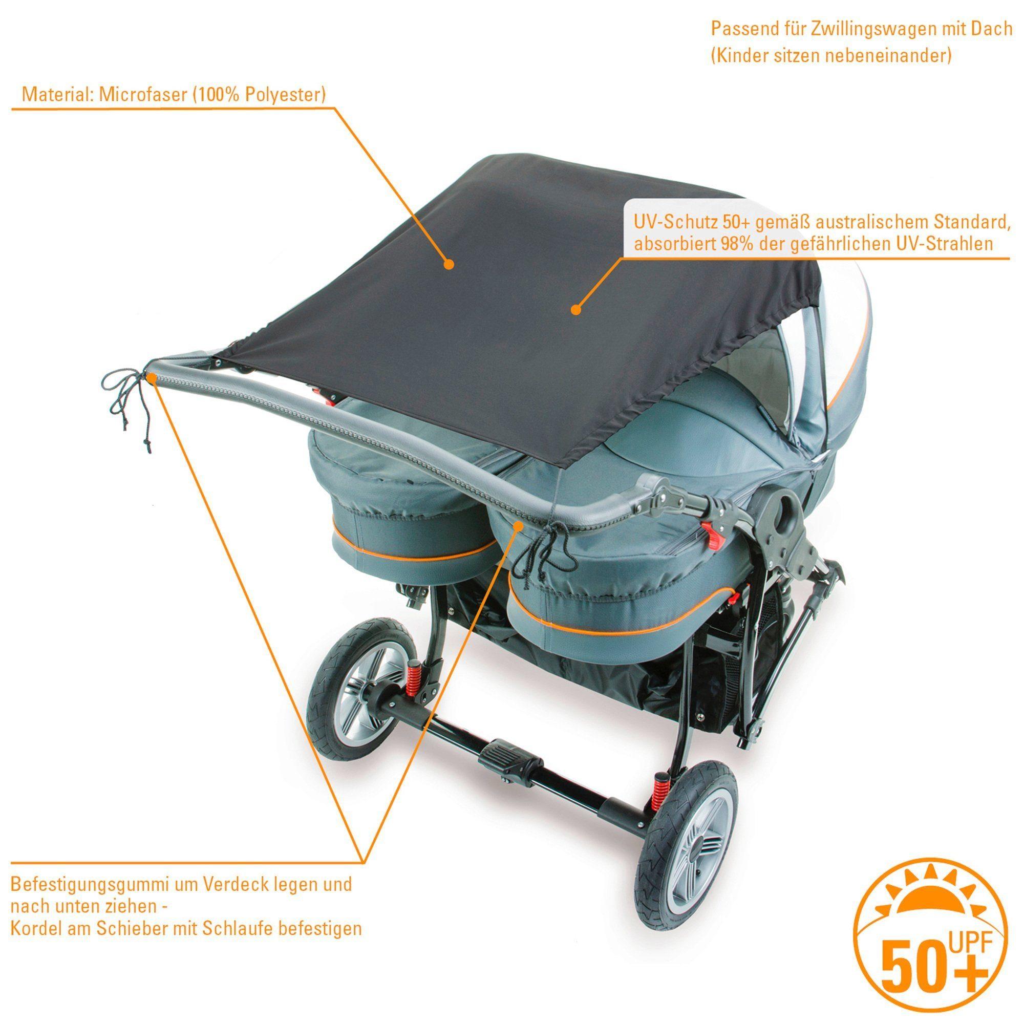 DIAGO Sonnensegel mit UV-Schutz für Zwillingswagen