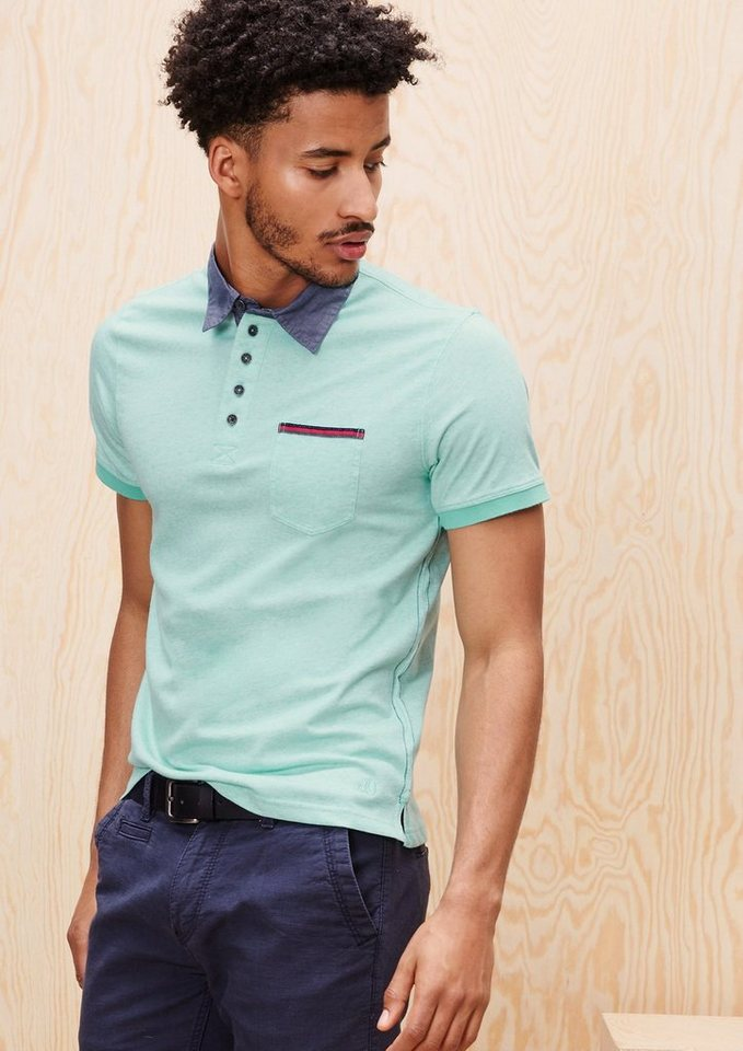 s.Oliver RED LABEL Poloshirt mit Chambray-Kragen in pale turquoise melan