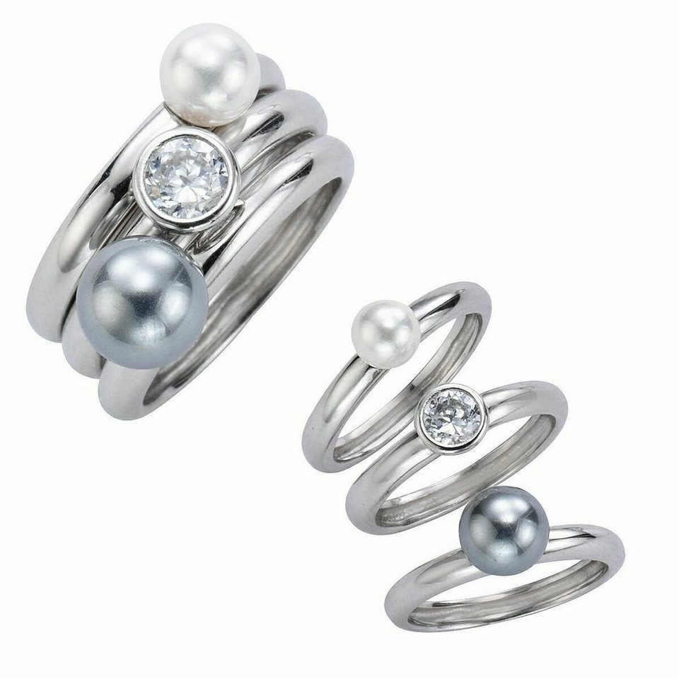 CELESTA Ring »925/- Sterling Silber Perlen« in weiß