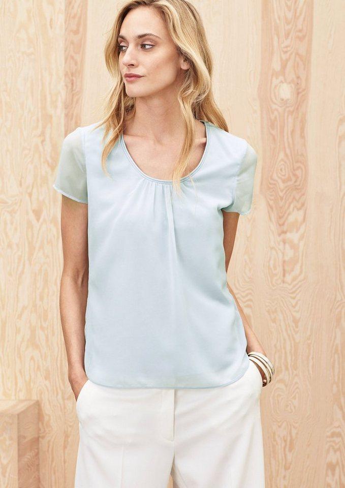 s.Oliver PREMIUM Modal-Shirt mit Chiffon in sky blue