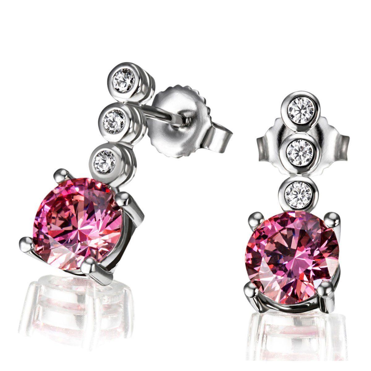 goldmaid Paar Ohrstecker Fancy Pink 925/- Sterlingsilber 6 weiße Zirkonia