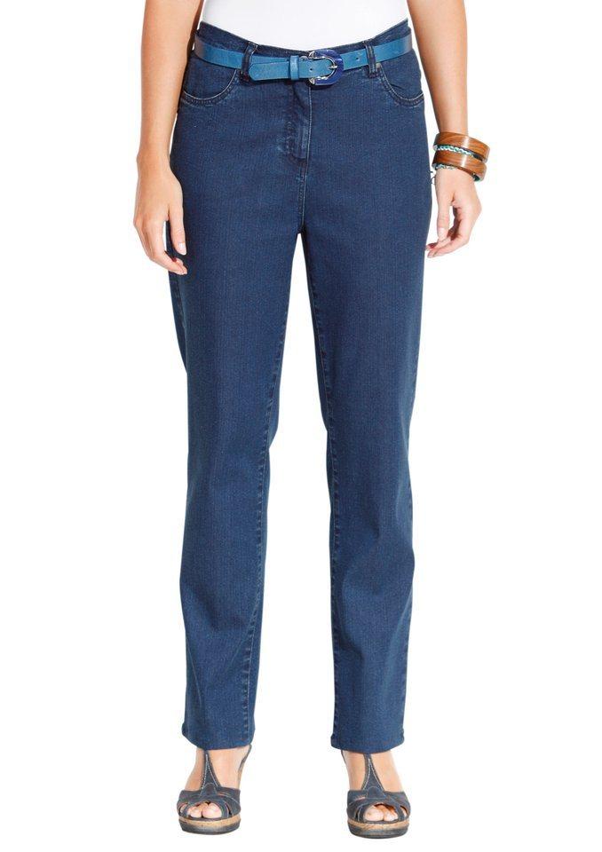 Classic Basics Jeans mit Nieten und Stickerei in blue-stone-washed