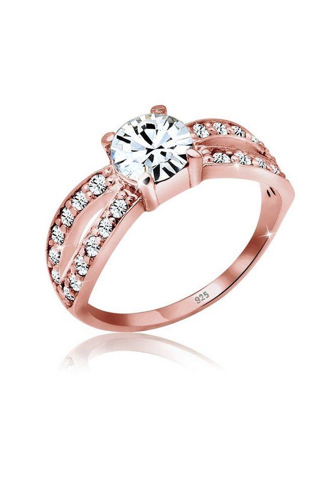 Elli Ring »Swarovski® Kristalle Silber rosé vergoldet« in Rosegold