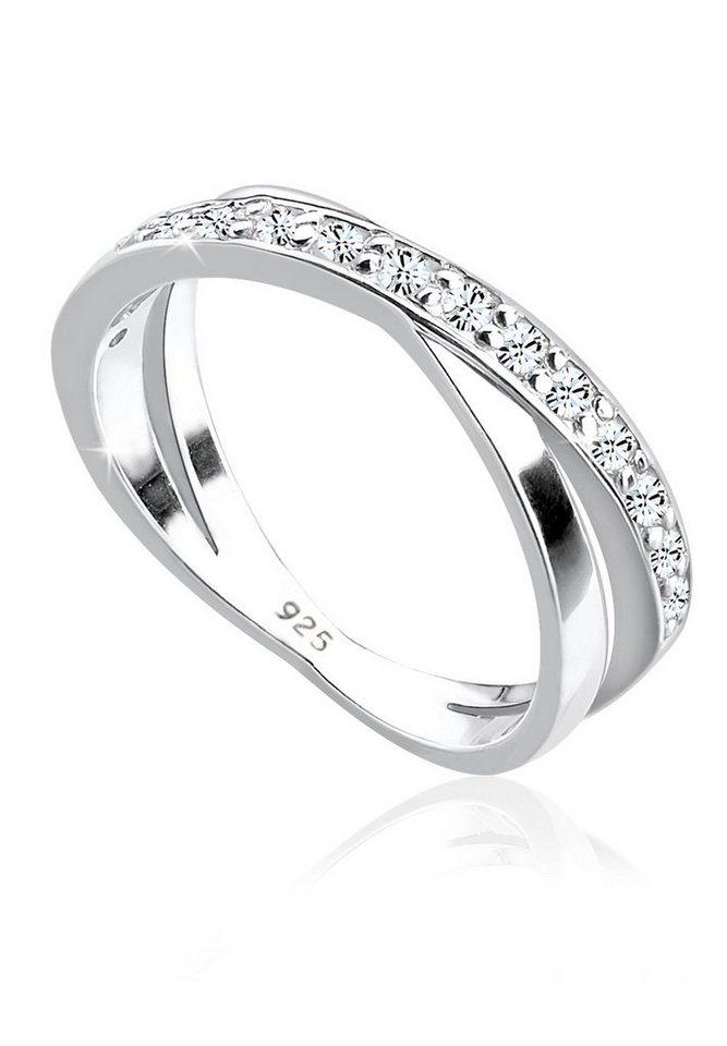 Elli Ring »Wickelring Swarovski® Kristalle 925 Silber« in Weiß