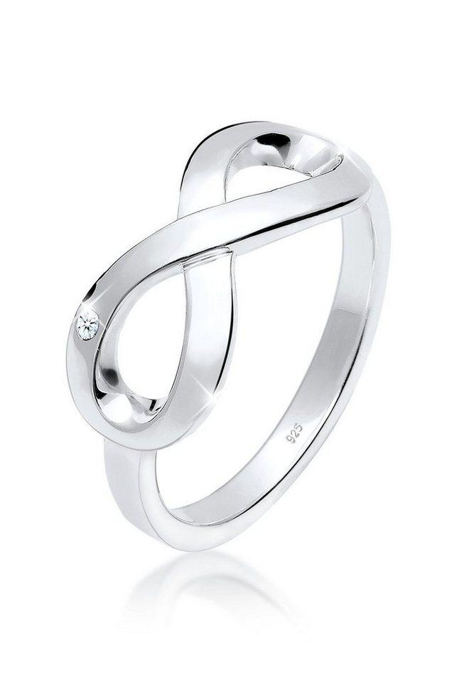 Elli Ring »Infinity Symbol Diamant 0.02 ct. 925 Silber« in Weiß
