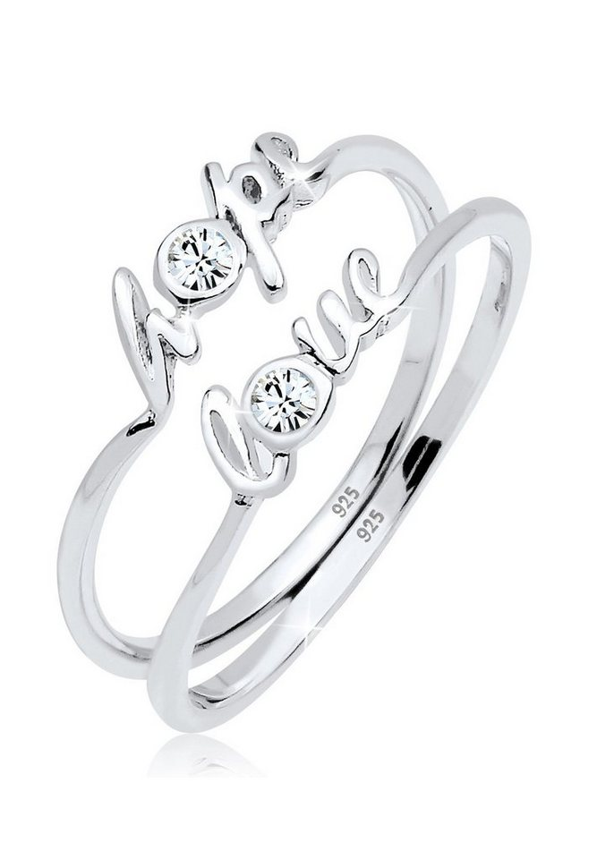 Elli Ring »Hope Love Swarovski® Kristalle 925 Silber« in Weiß