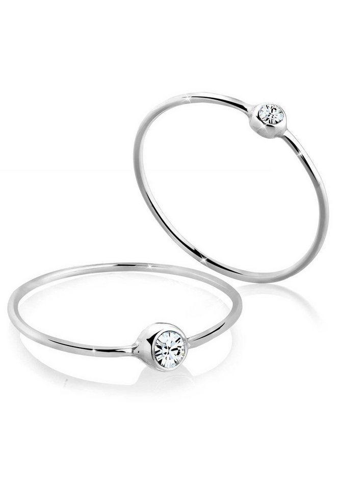 Elli Ring »Set Swarovski® Kristalle 925 Silber« in Weiß