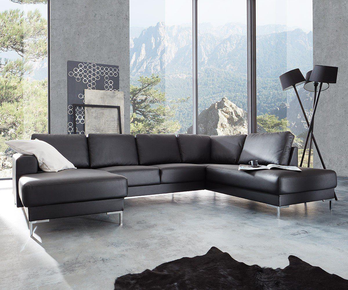 DELIFE Sofa Silas Schwarz 300x200 cm Ottomane Rechts