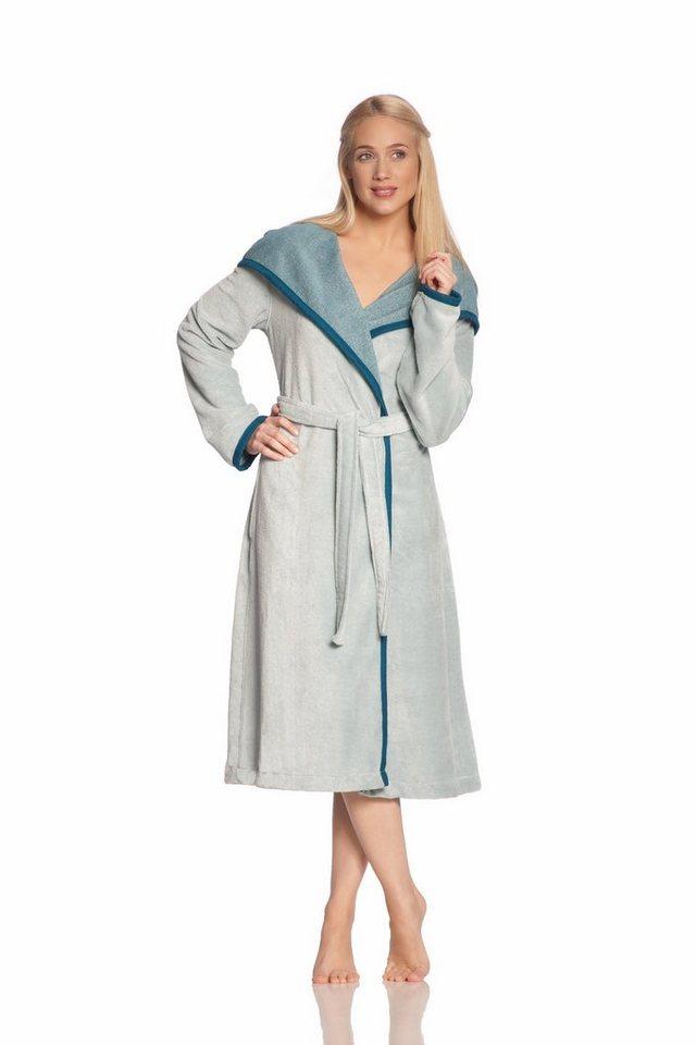 Damenbademantel, Vossen, »Samira«, mit großer Kapuze in blau-grau