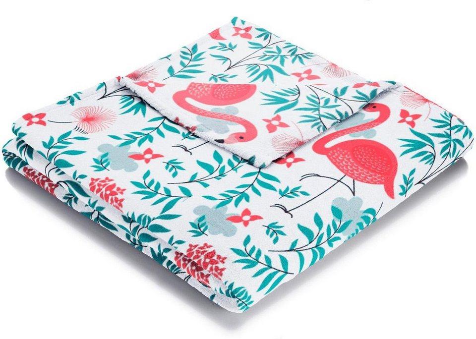 Wohndecke, Biederlack, »Flamingo«, mit coolen Flamingo Motiven in rosa-türkis
