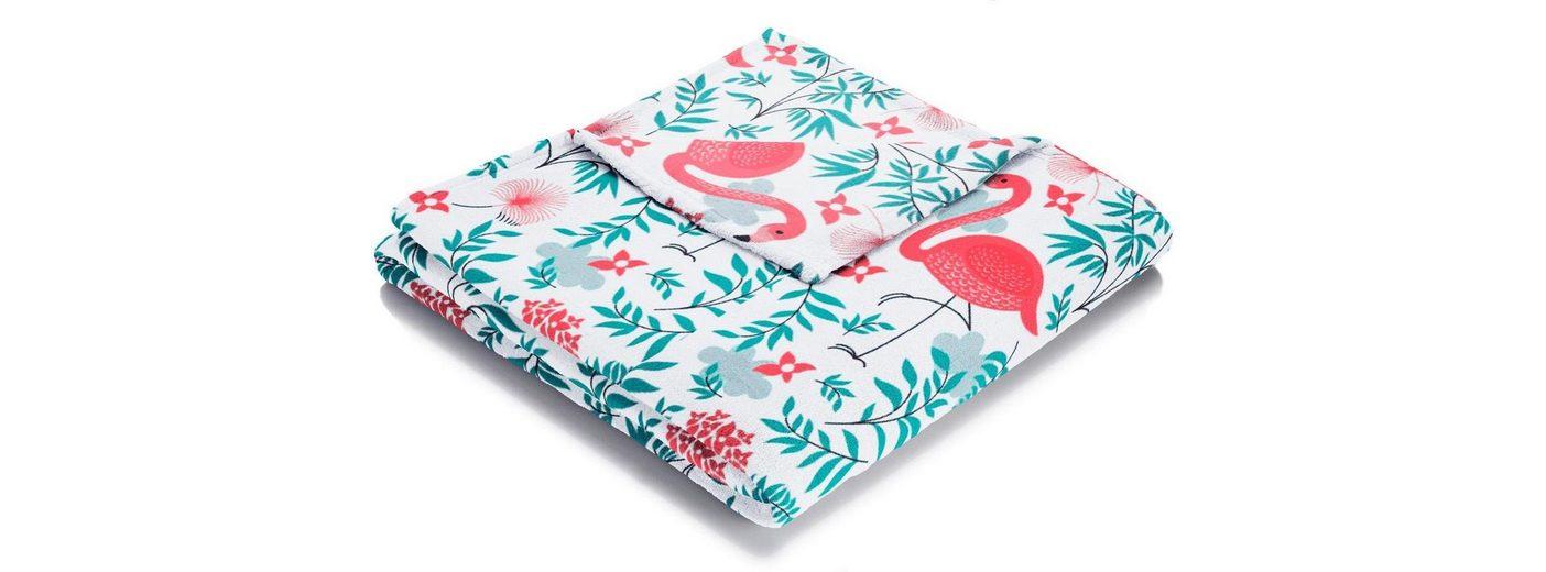 Wohndecke, Biederlack, »Flamingo«, mit coolen Flamingo Motiven