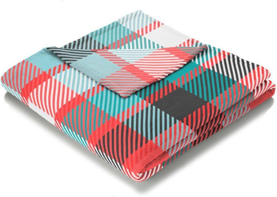 Wohndecke, Biederlack, »Caro«, mit trendigem Karo Muster in rot