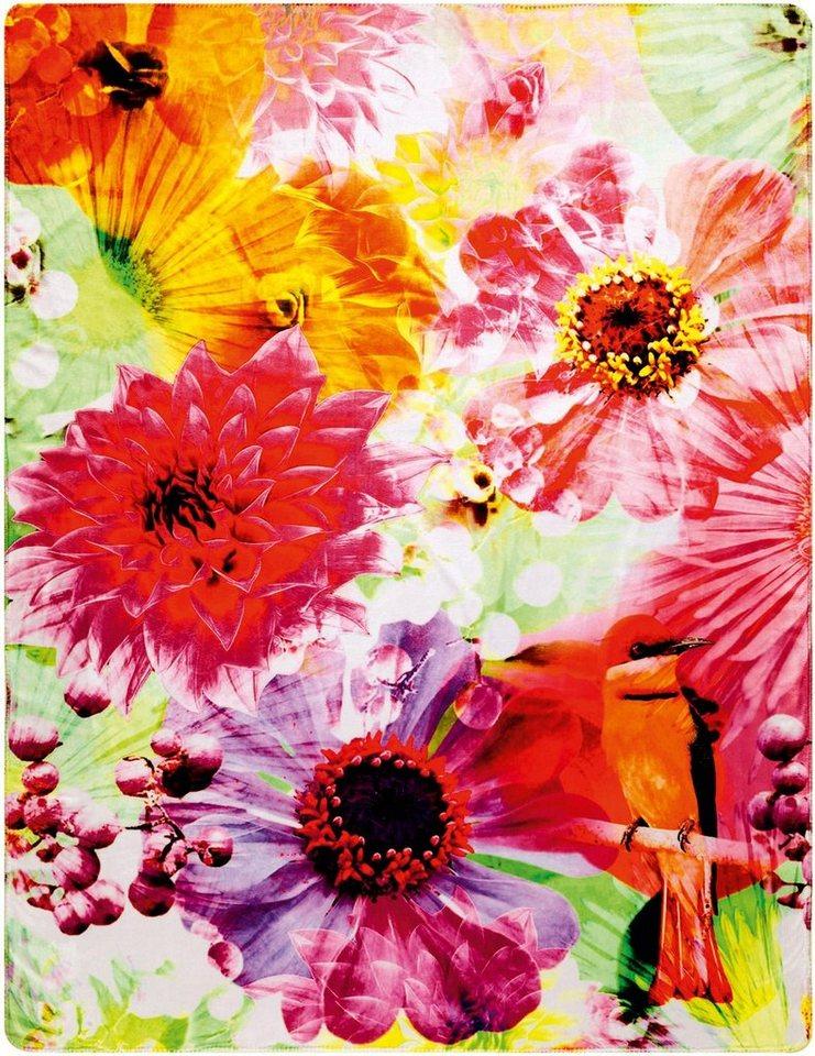 Wohndecke, Biederlack, »Bird in Paradise«, mit Blüten in multi