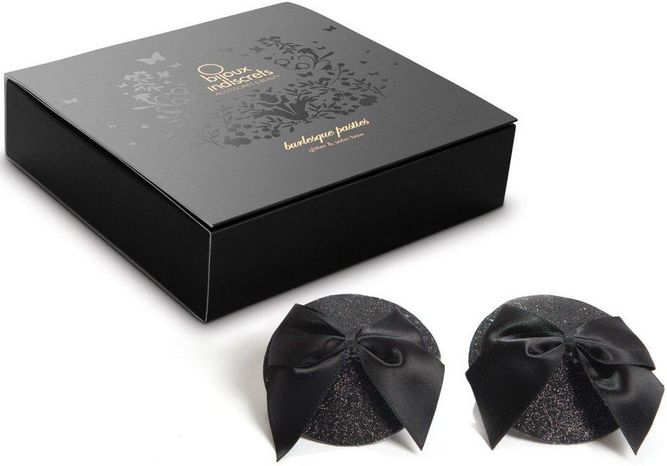 Bijoux Indiscrets Nippelschmuck mit Schleife »Burlesque Pasties - Bow« in schwarz