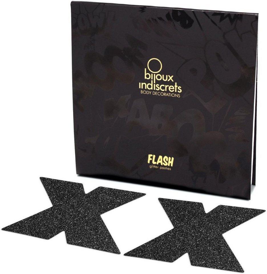 Bijoux Indiscrets Nippelschmuck in Kreuzform »Flash Cross« (2 Stück) in schwarz