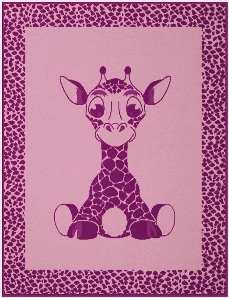 Kinderdecke, Biederlack, »Giraffe«, mit niedlichem Giraffen-Motiv in rosa