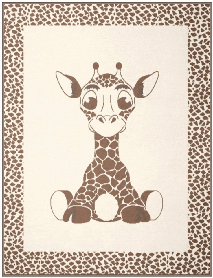 Kinderdecke, Biederlack, »Giraffe«, mit niedlichem Giraffen-Motiv in beige